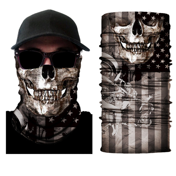 (S112) Skull Face Gaiter with Flag/Motorcycle