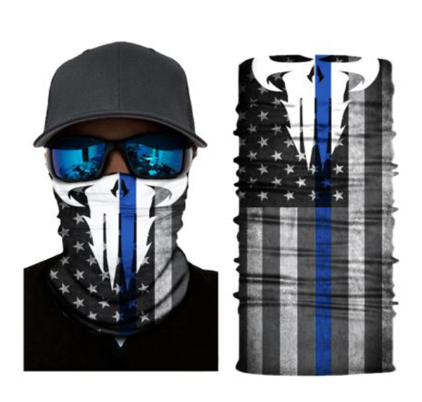 (S297) Thin Blue Line/USA Flag/Punisher Gaiter
