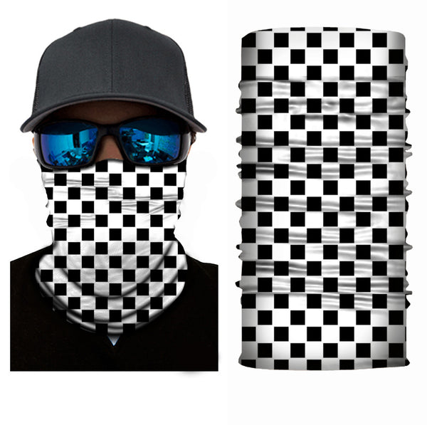 (S046) Black/White Checkerboard Gaiter