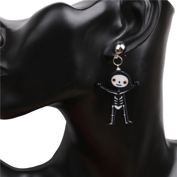 Small Cartoon Skeleton Earrings- Arms Up