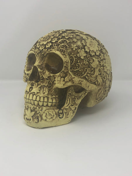 (SK15) Large Resin Skull with Floral Pattern