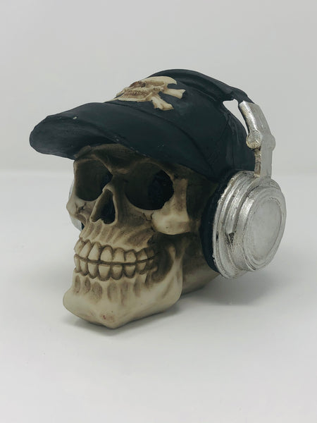 (SK10) Resin Skull with Cap and Headphones