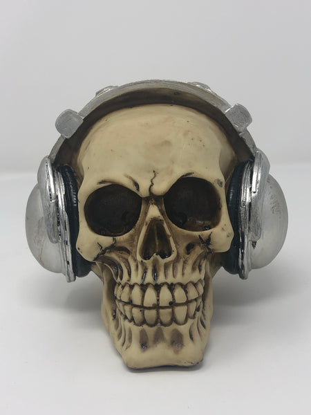 (SK01) Resin Skull with Grey Headphones