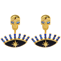 Dangling Skull Earring with Multiple Blue Jewels (2 piece)