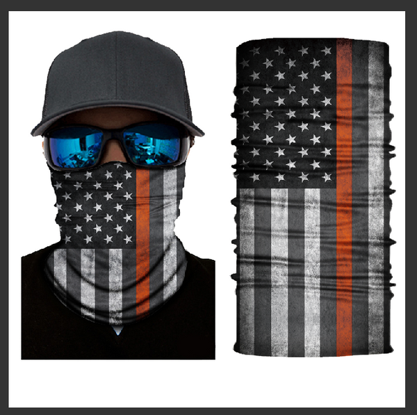 (S701) USA Flag Gaiter - Thin Orange Line (Search/Rescue)