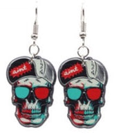 Punk Skeleton Earrings with Sunglasses and Hat