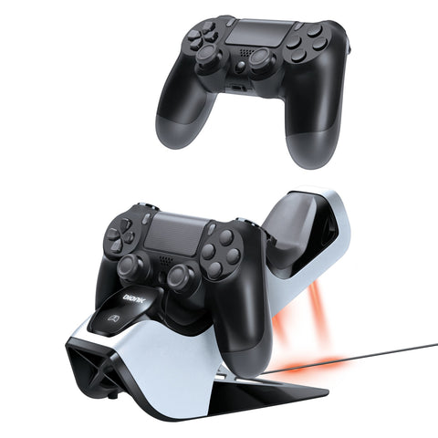 Charging Stands: BIONIK BNK-9027 POWER STAND PLAYSTATION 4 Dual Dock Controller ChargeStand White Black