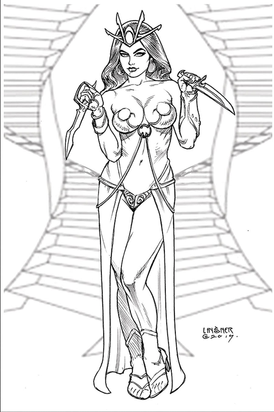 Dejah Thoris Vol 3 #5  Cover P Incentive Joseph Michael Linsner Black & White Virgin Cover