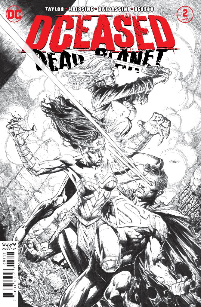 DCEASED DEAD PLANET #2 2ND PRINTING DAVID FINCH B&W VARIANT