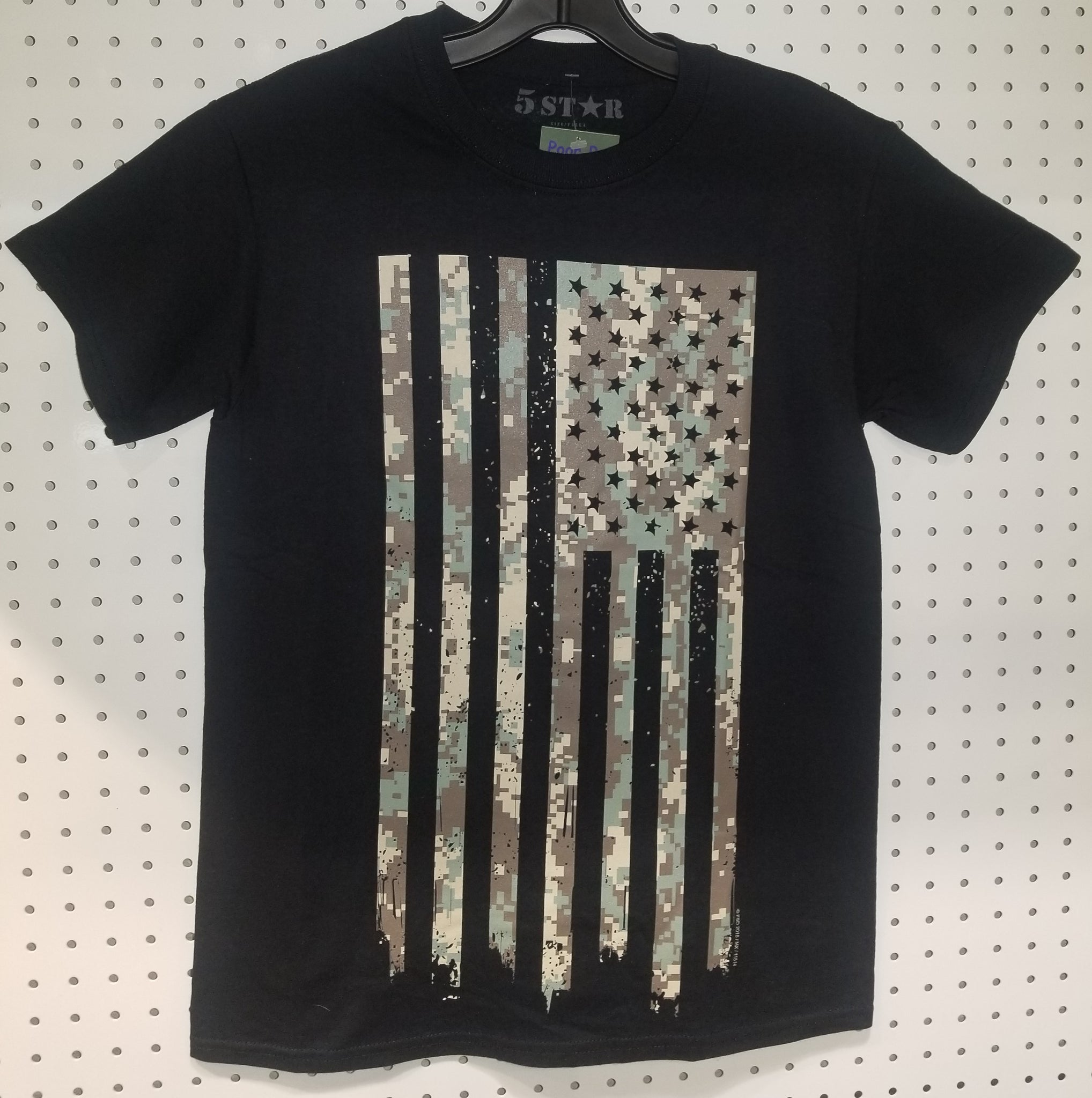 Men's 5 Star Camo Flag Black T Shirt
