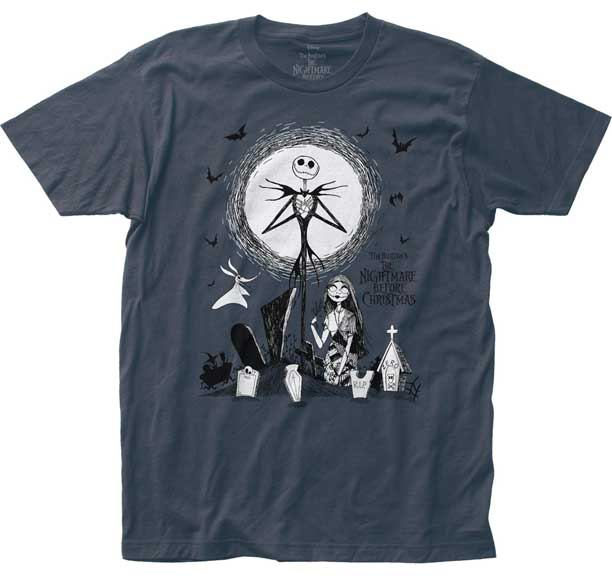 NIGHTMARE BEFORE CHRISTMAS GRAVEYARD FITTED JERSEY T-SHIRT
