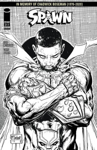 SPAWN #311 COVER B / TRIBUTE TO CHADWICK BOSEMAN BLACK & WHITE INCENTIVE VARIANT