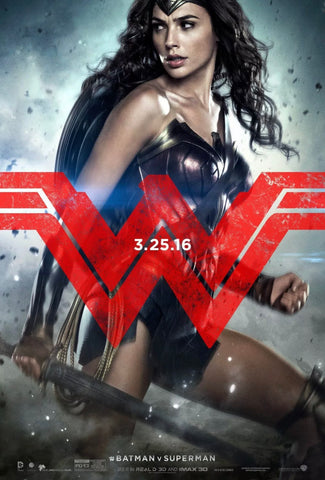WONDER WOMAN Batman Superman MOVIE POSTER Advance DS 27x40