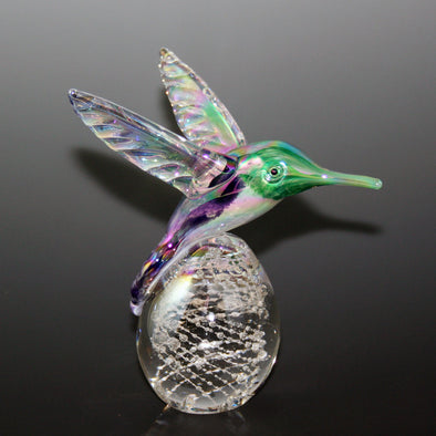 Memorial Glass Hummingbird Paperweight