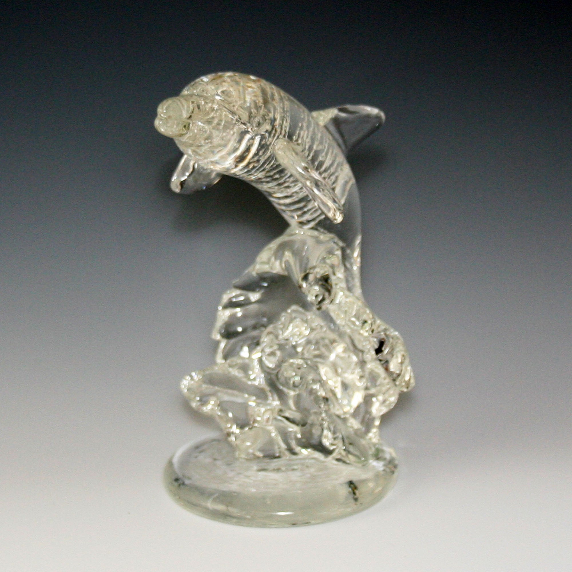 Cremation Ashes Memorial Glass Dolphin Sculpture Pet Contact Us at www.kevinfultonglass.com For Other