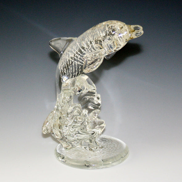 Memorial Glass Leaping Dolphin Sculpture