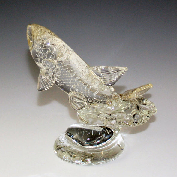 Memorial Glass Leaping Trout/Salmon Sculpture