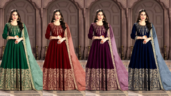Designer Anarkali Suite in 4 different colors by Dani Fashion