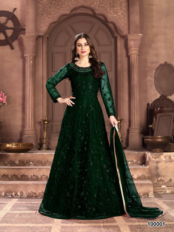 Green Color Net Anarkali Suits with Net Dupatta - Dani Fashions