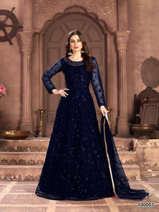 Blue Color Net Anarkali Suits with Net Dupatta - Dani Fashions