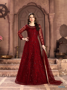 Red Color Net Anarkali Suits with Net Dupatta - Dani Fashions