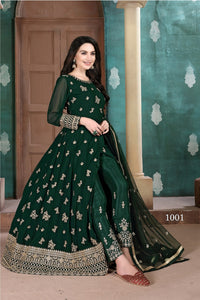Green Color Georgette Anarkali Suits with Net Dupatta