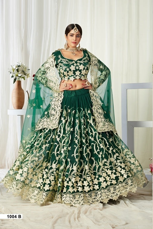 Green Embroidered Net And Silk Lehenga Choli With Matching Blouse and Net Dupatta