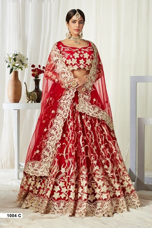 Red Embroidered Net And Silk Lehenga Choli With Matching Blouse and Net Dupatta