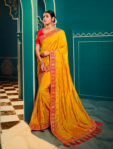 Silk Embroidered Mustard Saree With Matching Blouse