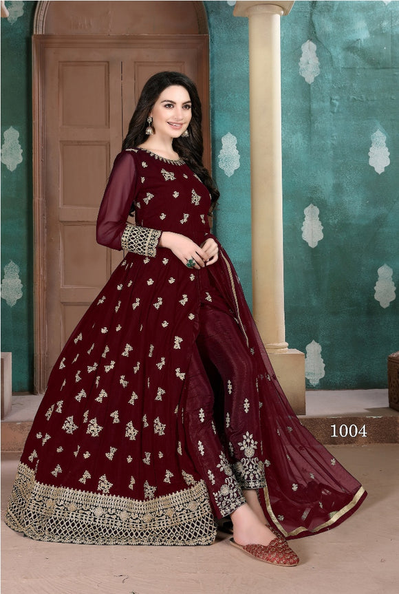 Marron Color Georgette Anarkali Suits with Net Dupatta
