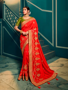 Silk Embroidered Red Saree With Matching Blouse