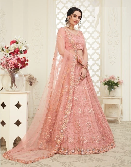 Peach Embroidered Net With Banglori Silk Lehenga Choli With Matching Blouse and Net Dupatta