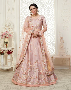 Pink Embroidered Mulberry Silk Lehenga Choli With Matching Blouse and Net Dupatta