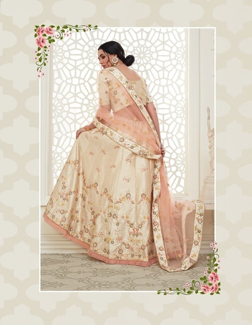 Cream Embroidered Mulberry Silk Lehenga Choli With Matching Blouse and Net Dupatta