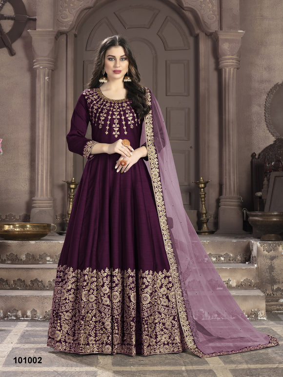 Purple Color Art Silk Anarkali Suits with Net With Heavy Embroidery Border Work Dupatta - Dani Fashions