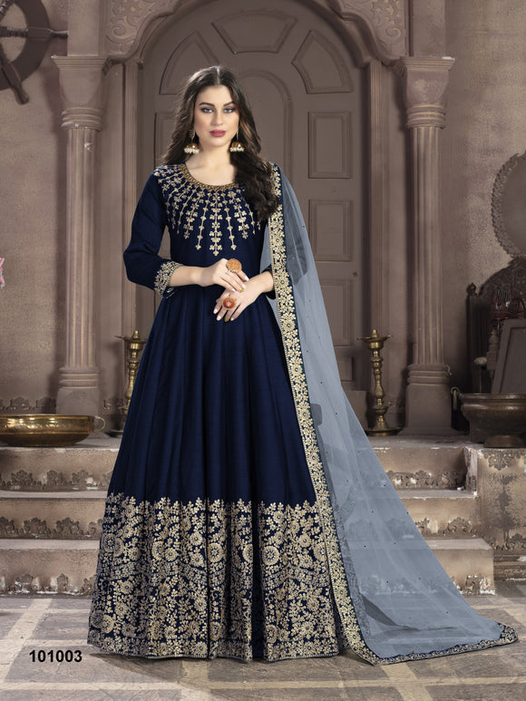 Neavy Blue Color Art Silk Anarkali Suits with Net With Heavy Embroidery Border Work Dupatta