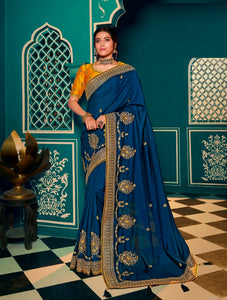 Silk Embroidered Blue Saree With Matching Blouse
