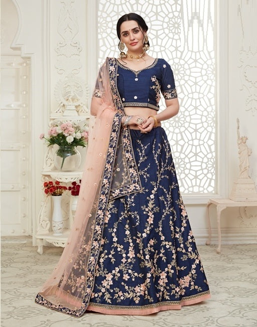 Blue Embroidered Mulberry Silk Lehenga Choli With Matching Blouse and Net Dupatta