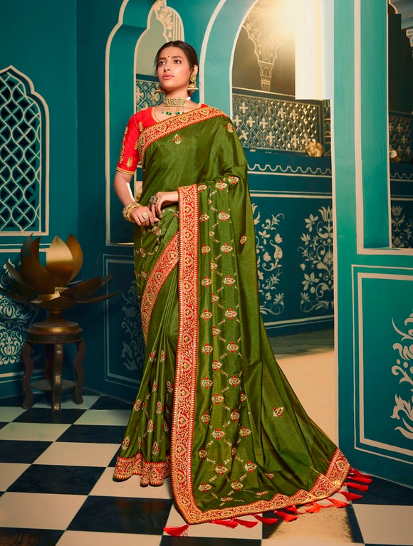 Silk Embroidered Green Saree With Matching Blouse