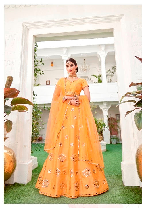 Yellow Georgette Hand Work Anarkali and Net Dupatta