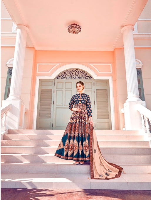 Rama Color Silk Anarkali Suits with Chiffon Dupatta