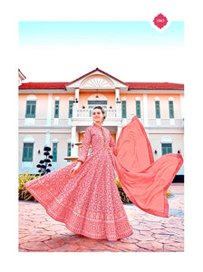 Peach Color Silk Anarkali Suits with Chiffon Dupatta