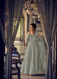 Grey Color Net Anarkali Suits with Net Dupatta