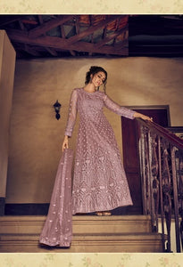 Dusty Peach Color Net Anarkali Suits with Net Dupatta