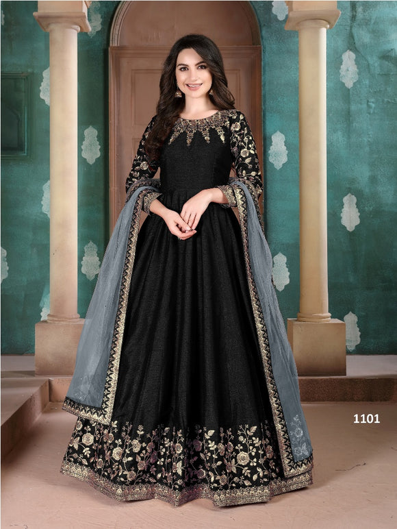 Black Color Ada Silk Anarkali Suits with Net Dupatta
