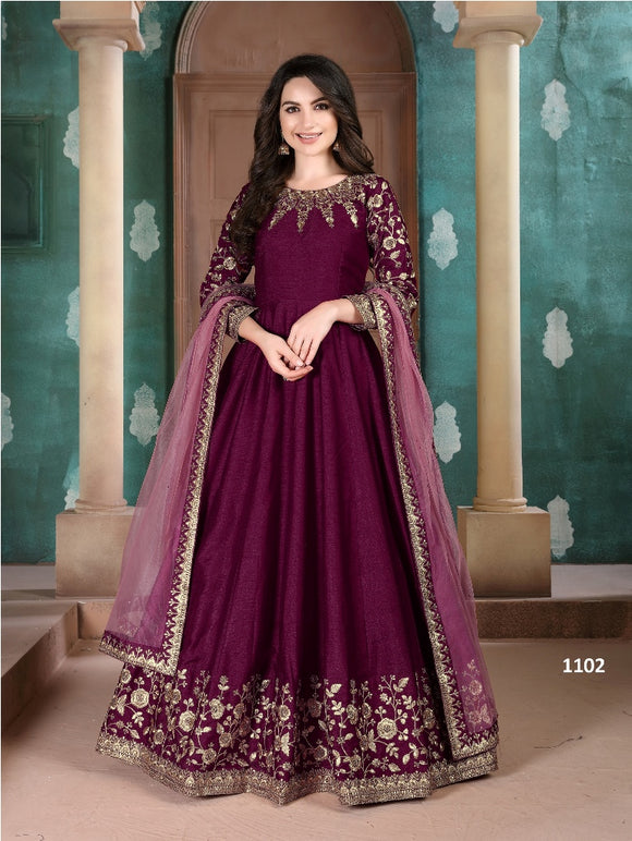 Purple Color Ada Silk Anarkali Suits with Net Dupatta