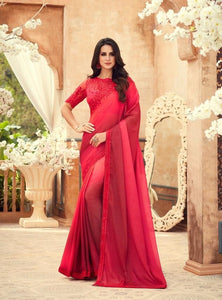 Chiffon Digital Print Red Saree With Matching Blouse