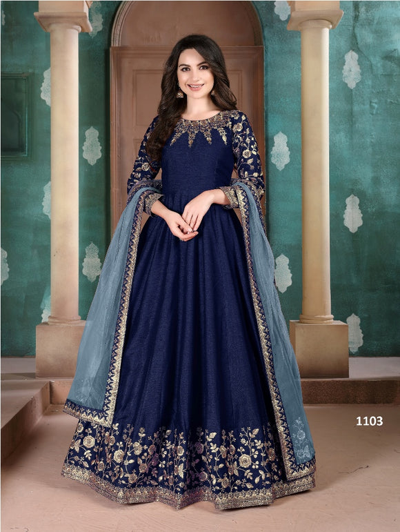 Blue Color Ada Silk Anarkali Suits with Net Dupatta