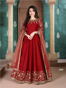 Red Color Ada Silk Anarkali Suits with Net Dupatta