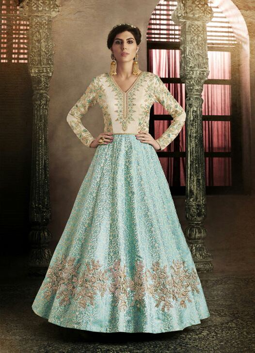 Sky Blue Color Silk Anarkali Suits with Chiffon Dupatta
